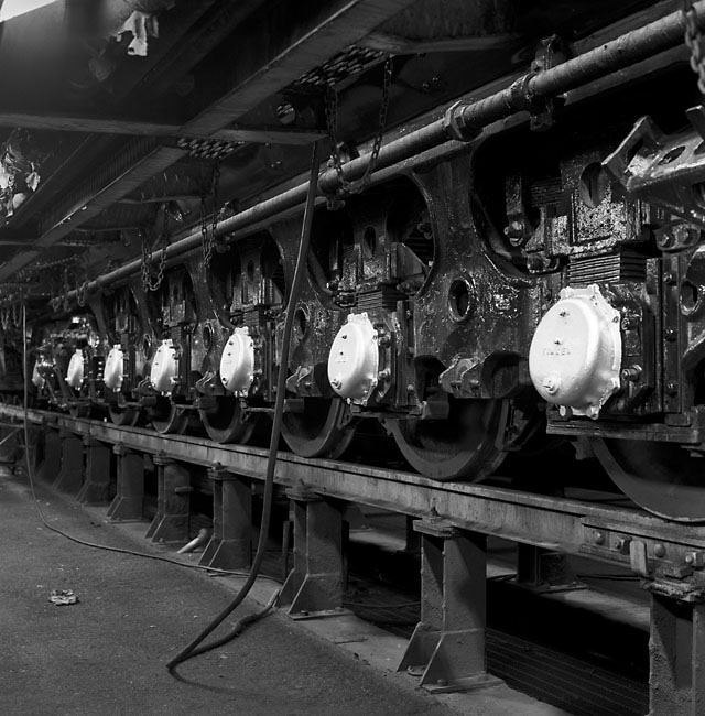 UP 844's tender wheels in the steam shop, Cheyenne WY, August 1997.