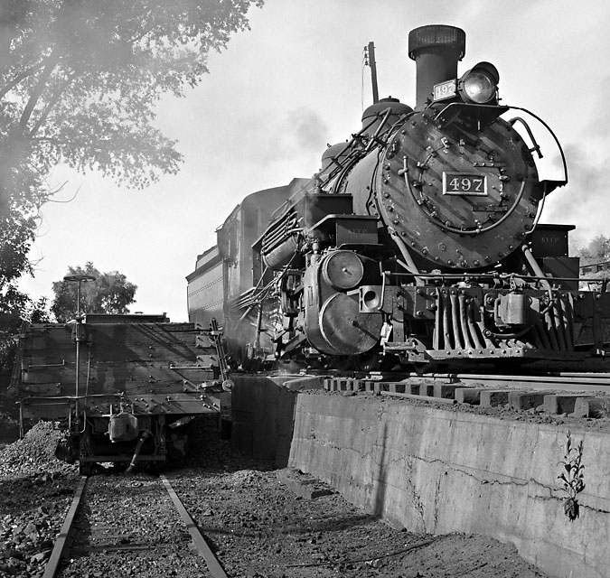 Rio Grande K37 #497 sits on the ash pit in the early morning light.