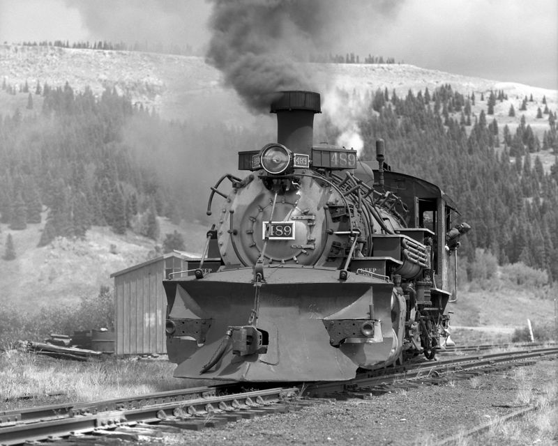 489 turns on the wye at Cumbres Pass, August 1993. Minutes later 489 almost hit a gasoline tanker that refused to stop at the 17 grade crossing. The wheels spun madly when the engineer threw the reverser from reverse into forward.