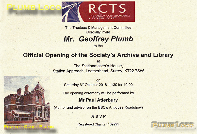 Geoff Plumb, RCTS Library Invitation