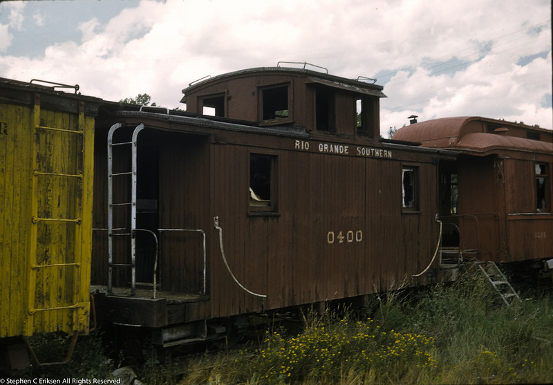 August of 1959 view of caboose 0400 in Ridgway, CO.  Don Swanson photo.