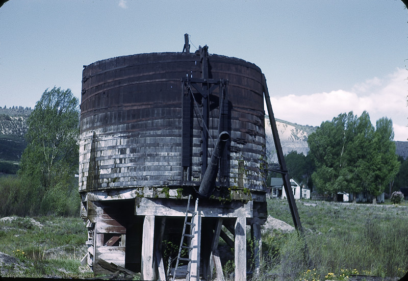 Water tank at Ridgway in 1950. Photo by William F. Hellgren.