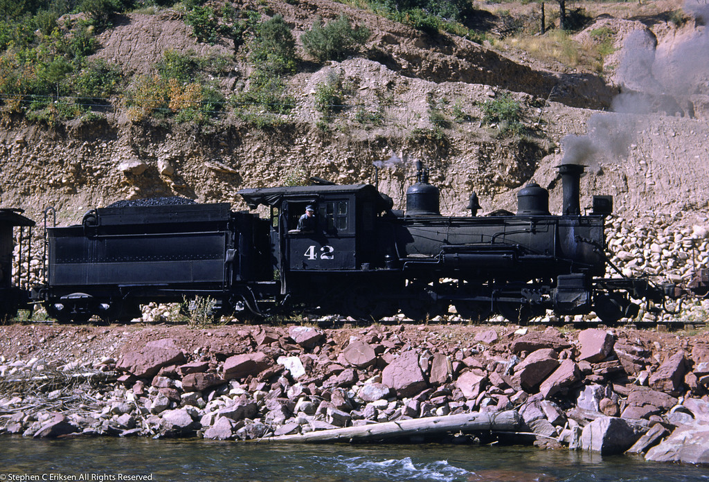 1950's view of RGS C-17 #42 under steam, now on display at the Durango roundhouse of the D&SNG RR.