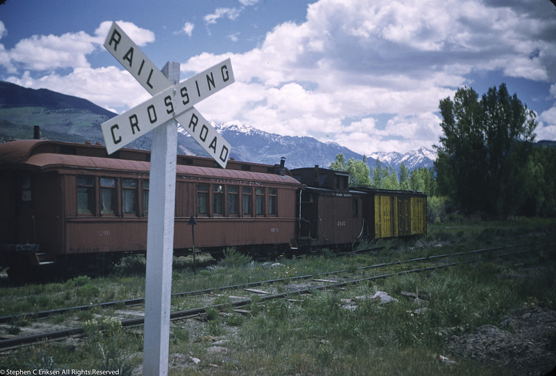 June 1, 1955 shows RGS coach 260, caboose 0400, and a refrigerator on display in Ridgway in the waning days of the railroad. Coach 260 went on to the Huckleberry Railroad in Michigan where it operates today.  Caboose 0400 is currently at the Colorado RR Museum along with reefer #2101 (which may be the one shown in this photo).