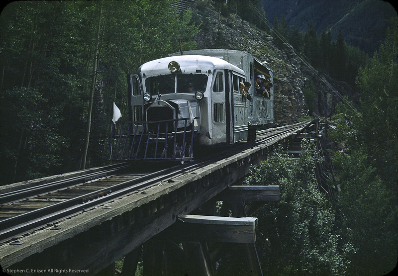 Goose 4 at Ophir trestle in 1951. Photo by Robert LeMassena.