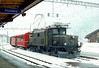 RHB412 Klosters,in a blizzard,on 1220 Davos Platz-Landquart(mixed passenger and freight) 4th April 1986