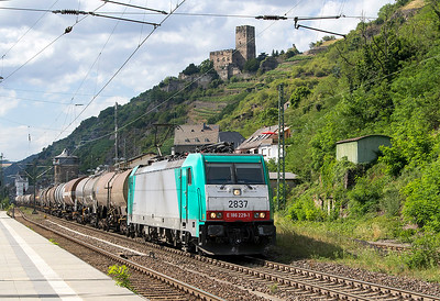 With Gutenfels Castle overlooking Kaub 186 229, SNCB 2837 heads a southbound tank train. Wednesday 5th July 2017.