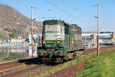 Spedica's 740 723 passes the dam at Střekov light engine heading south. Thursday 21st April 2016.