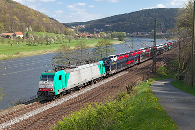 Alpha Trains Bombardier TRAXX 186 246 on hire to ITL heads a northbound loaded car train past Königstein. Wednesday 20th April 2016.