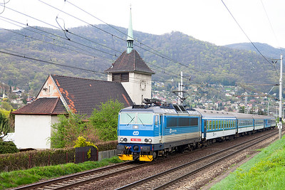 162 053 passes the church at Vaňov northbound with R686 12.53 Praha to Děčín. Monday 18th April 2016.