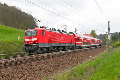 143 366 passes the level crossing south of Rathen with an S Bahn service to Bad Schandau. Wednesday 20th April 2016.
