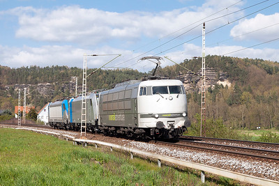 railadventure's 103 222 heads south near Weissig south of Kurort Rathen with new Railpool hire locomotives 186 438 & 187 002. Wednesday 20th April 2016.