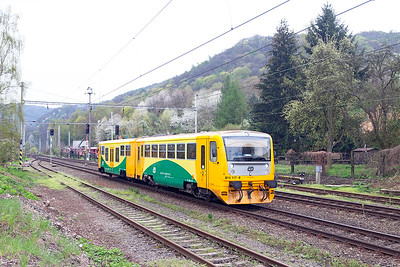 Railbus 814 117 arrives at Velké Březno forming the 6465 08.02 Děčín to Ústí nad Labem Střekov. Tuesday 19th April 2016.