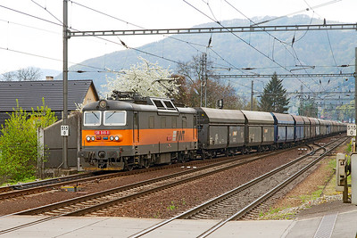 AWT's 130 049 approaches Ústí nad Labem with empty coal hoppers. Monday 18th April 2016.
