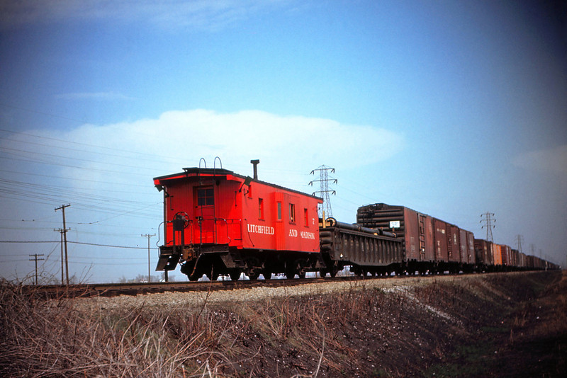 MSCL 54 - Mar 27 1956 - Litchfield & Madison Caboose No 7 on Northbound freight 2 miles out of Granite City ILL