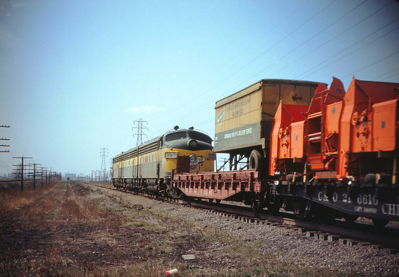 MSCL 55 - Mar 27 1956 - C&NW 3 unit freight north of Granite City ILL