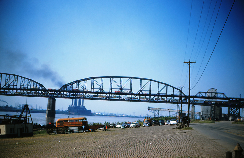 MSCL 66 - June 4th 1956 - Royal American Shows Circus Train on MacArthur Bridge St Louis MO