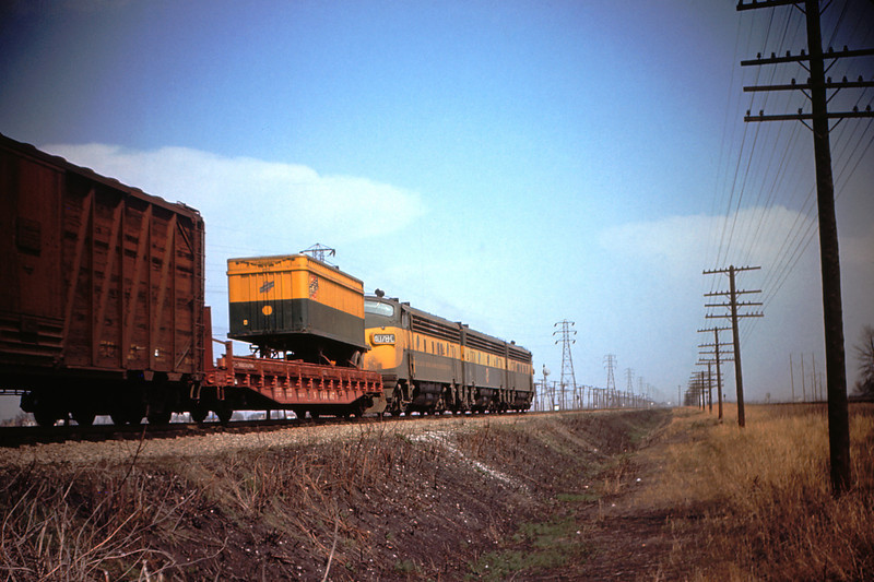 MSCL 50 - Mar 27 1956 - Chicago & Northwestern with piggyback at Horseshoe Lake ILL
