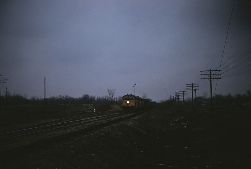 MSCL 45 - Feb 19 1956 - C&NW Northbound freight with EMD's Nos 4069 4068b 4077c at Edwardsville ILL