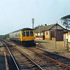 Class 108 DMU halts at Ravenglass<br /> <br /> Circa 1983