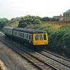 Class 108 DMU slows for the halt at Ravenglass<br /> <br /> Circa 1983