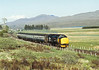 Large logo Class 37 No.37417 'Highland Region'  departs Achanalt with 18.05 service from  Inverness to Kyle of Lochalsh<br /> <br /> 11 June 1986<br /> Ekta 100  1/250  f6.3