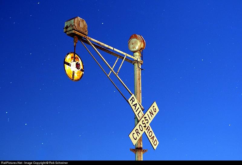 Inactive crossing signal at the Monticello Railroad Museum. Monticello, IL