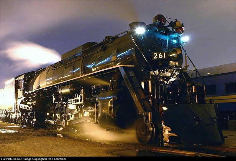 The Milwaukee Road 261 is kept warm overnight in Milwaukee, taken around 3AM.