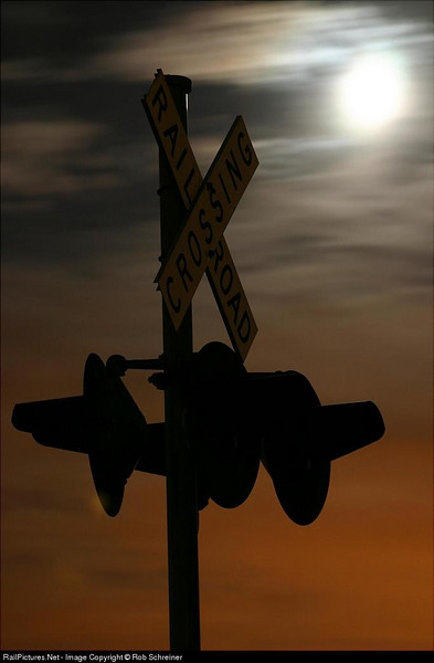 One of my first night shots, Adam's Road crossing in Wadsworth on the Union Pacific's Milwaukee subdivision.