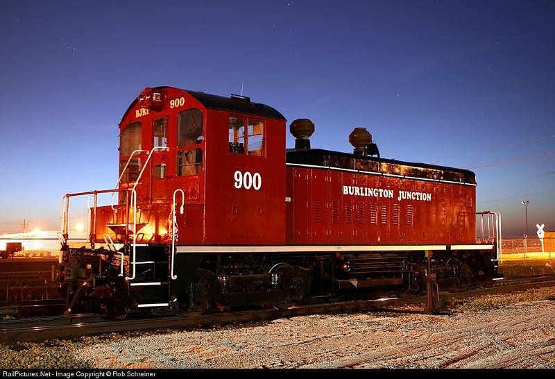 Burlington Junction 900 watches twilight fade in Rochelle, IL.