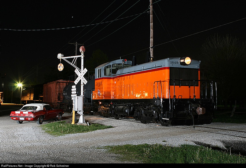 Night photo session with the Monticello Railroad Museum, Milwaukee Road 1649 poses next to the wig-wag signal.