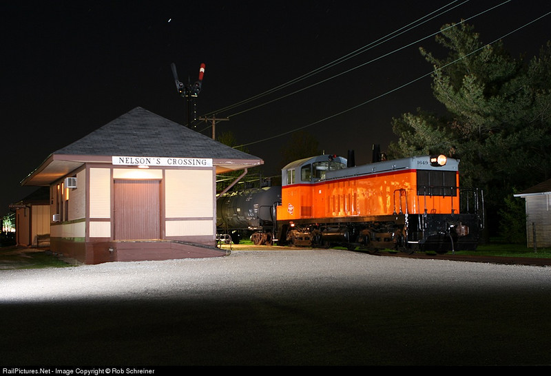 More night photo session at Monticello Railroad Museum, Milwaukee Road 1649 at the station under the train order semaphore signal.