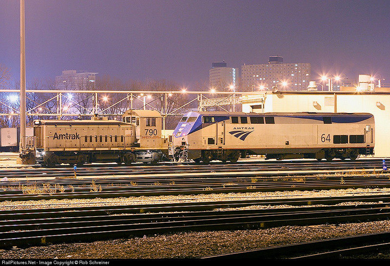 Units at night in the Amtrak facility in Chicago.