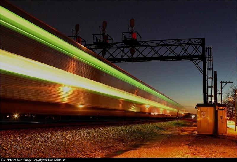 Metra suburban train glides into Elmhurst, IL.