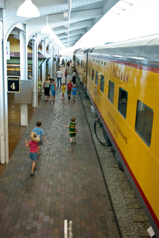 The public may tour restored passenger cars from several eras.