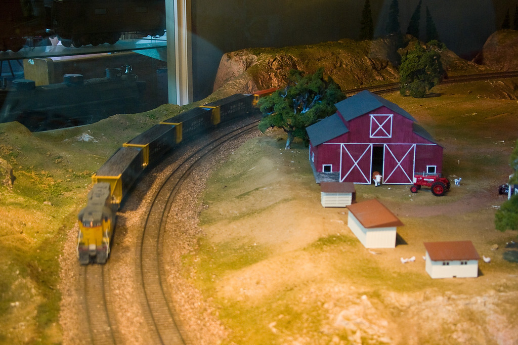 Most of the engines and rolling stock are painted in Union Pacific colors.