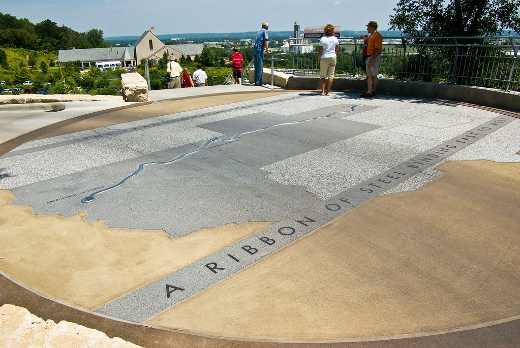 Kenefick Park is on the other end of the gardens.<br><br>This map of the route of the first railroad route to connect the East and West coasts is on the lower observation deck.