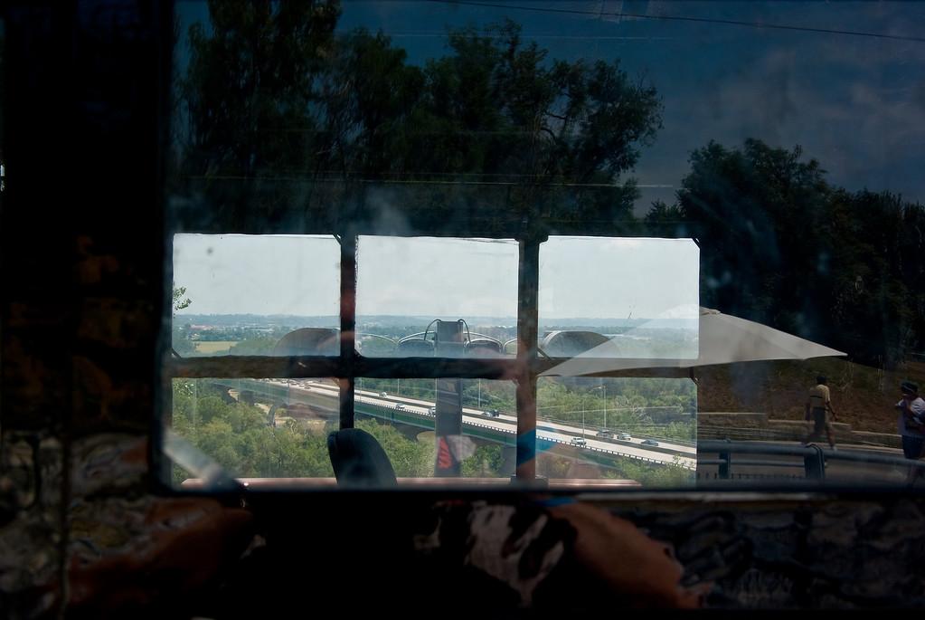 A view of I-80 through the cab windows.