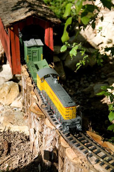 The outdoor garden railway is a major attraction at Lauritzen Gardens.