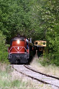 Abilene & Smoky Valley Railroad running between Abilene and Enterprise, KS Arriving Enterprise, KS