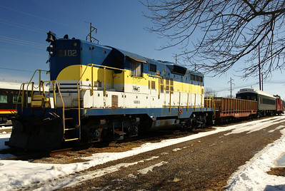 SHRX # 102, a former Baltimore & Ohio locomotive, is used to pull tourist train on the Belton, Grandview & Kansas City Railroad in Belton, MO.