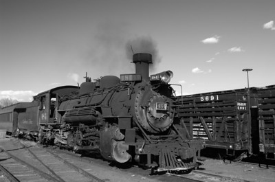 Cumbres & Toltec #484 stopped at the depot in Chama, NM.