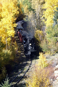 Cumbres & Toltec pulling through a canopy of Aspens.