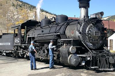 Train crew prepares engine for our return trip back to Durango on the Durango & Silverton Railroad.