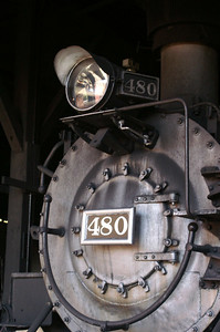 Durango & Silverton 480 inside the roundhouse in Durango, Colorado.