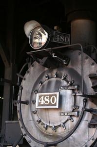 Durango & Silverton 480 inside the roundhouse in Durango, Colorado.