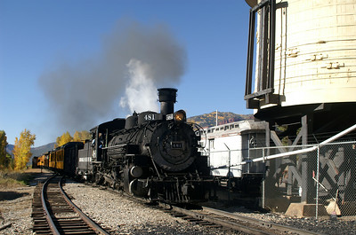 #481 passes by us at the water tower in Hermosa, CO.  It was the second train out of Durango this morning.