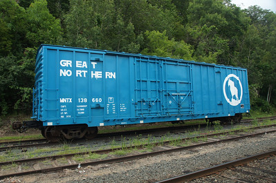 Repainted Great Northern boxcar in Osceola, WI