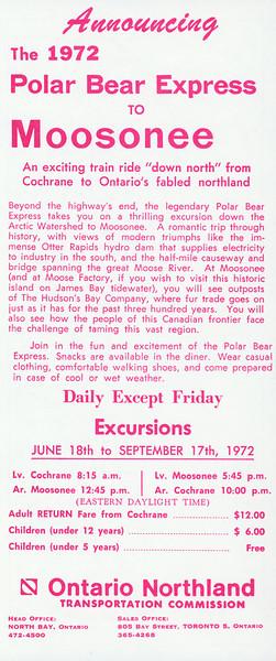 Ontario Northland Polar Bear Express timetable 1972 including map