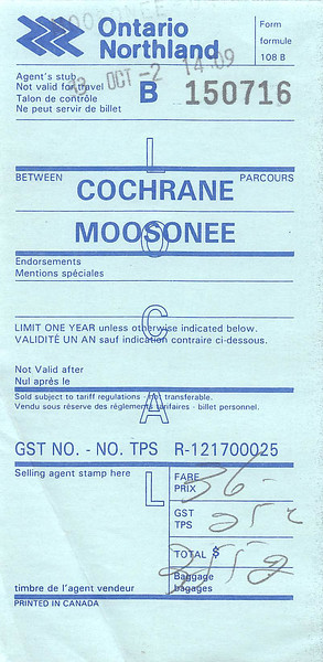 Ontario Northland ticket Cochrane to Moosonee agent's stub 1993 October 2 form 108 B